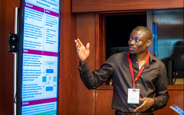 Dr Mahamoud Sama Cherif presenting his poster on creating an equitable governance framework for IDDO's Ebola research theme, credit: EDCTP forum.